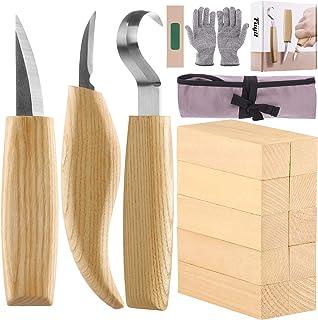 Fuyit 17 Pièces Outils de Sculpture sur Bois avec Couteau à Crochet, Couteau à Tailler, Couteau de Détail, Gants Résistant...
