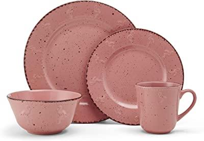Pfaltzgraff Pink Flamingo 16-Piece Dinnerware Set, Service For 4
