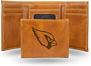 NFL Rico Industries Laser Engraved Trifold Wallet, Arizona Cardinals, 3.25 x 4-inches