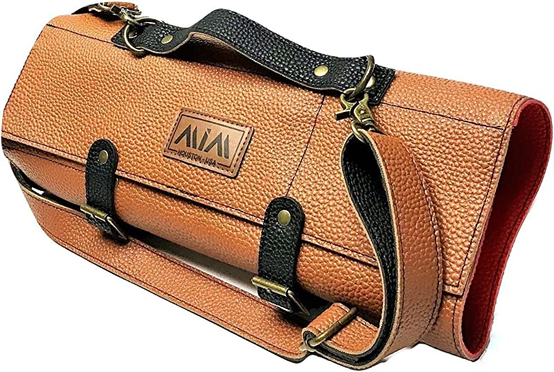 MiM Chef Knife Roll Knife Bag For Chefs PU Leather Reinforced Shoulder Strap Brown