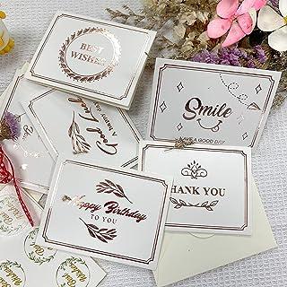 LSEEKA Lot de 6 Cartes de cartes Lettres d'or simples sur avec enveloppes et Best Wishes autocollant cartes pour Le Mariag...