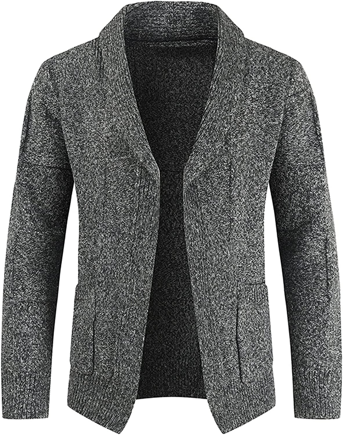 Huangse Mens Knitted V Neck Cardigans Slim Fit Open Front Sweaters Solid Color Long Sleeve Casual Knit Wool Blend Cardigan