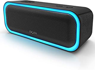 [Upgraded] DOSS SoundBox Pro Portable Wireless Bluetooth Speaker with 20W Stereo Sound, Active Extra Bass, Wireless Stereo Pairing, Multiple Colors Lights, Waterproof IPX5, 12 Hrs Battery Life -Black