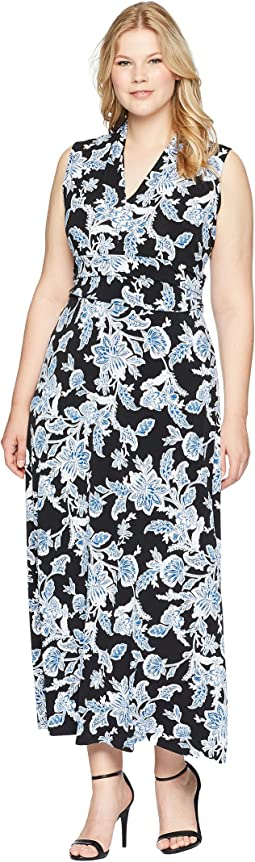 Vince Camuto Specialty Size Plus Size Woodblock Floral Halter Maxi Dress