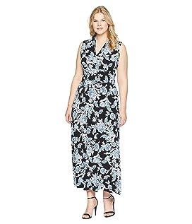Plus Size Woodblock Floral Halter Maxi Dress