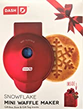 Dash SNOWFLAKE Mini Waffle Maker: The Mini SNOWFLAKE Waffle Maker Machine for Individual Waffles, Paninis, and more! RED