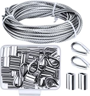 Canomo Cable Railing Kits Includes 1/8 inch x 33 Feet Stainless Steel Wire Rope Cable, 50 Pieces Aluminum Crimping Sleeves and 10 Pieces Stainless Steel Thimble for Railing,Decking, Picture Hanging
