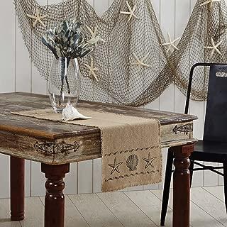 VHC Brands Coastal Tabletop & Kitchen - Sandy Burlap Runner, 13