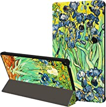 Huasiru Painting Case for Fire HD 10 Tablet (7th Gen, 2017 Released Only) - Tri-fold Cover with Auto Sleep/Wake, Irises