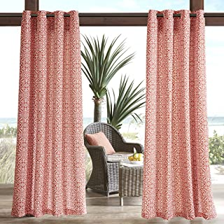 Madison Park Red Grommet Curtains for Living Room, Aptos Global Opaque Window Curtains, Polyester Global Inspired Living Room Curtains, 54X95, 1-Panel Pack