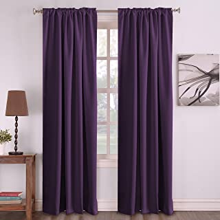 Turquoize Blackout Draperies and Window Treatment - Purple Curtain with Back Tab/Rod Pocket Blackout Curtain Panels Thermal Insulated Window Drapes - 2 Panels Set- Plum Purple, 52x96 Inch