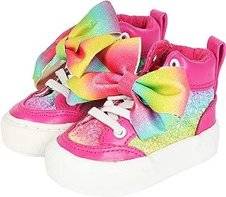 JoJo Siwa Girls High Top Pink Rainbow Glitter Zip On Sneaker with Large Bow