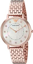 Emporio Armani Women's Kappa Analog-Quartz Watch with Stainless-Steel-Plated Strap, Rose Gold, 22 (Model: AR11006)