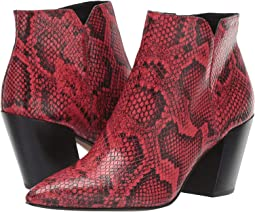 Red Snake Print Leather
