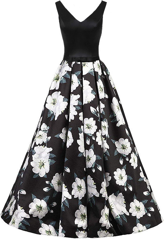 ZVOCY Floral Print Prom Dress Long Black VNeck Evening Formal Gowns