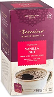 Teeccino Herbal Tea – Vanilla Nut – Rich & Roasted Herbal Tea That's Caffeine Free & Prebiotic for Natural Energy, 25 Tea ...