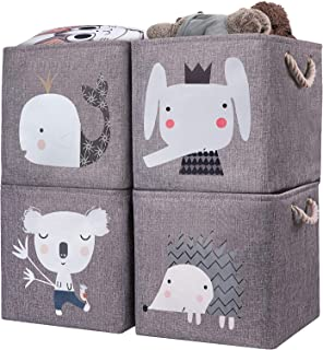 AXHOP Storage Cubes Storage Bins[4-Pack] Foldable Storage Baskets Boxes for Shelf, Clothes, Toys, Books, Kids, Nursery, Of...