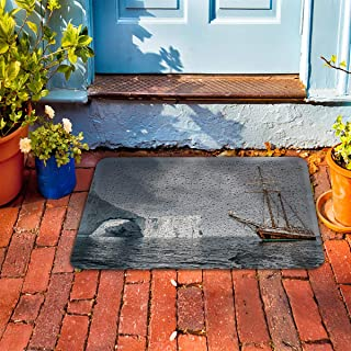 "Prime Leader Indoor Outdoor Doormat The Landscape of Ship Sailing on The Ocean 18"" x 30"" Dirt Trapper Mats with Rubber Backing for Front/Back Door&High Traffic Area Easy Clean"