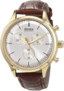 Hugo Boss Men's Companion 42mm Brown Leather Band Steel Case Quartz Silver-Tone Dial Analog Watch 1513545