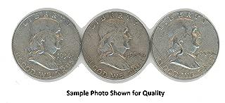 1954 P & 1954 D & 1954 S Franklin Half Dollar Set Avg Circ