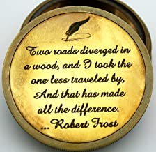 Delhi Arts Robert frost poem Engraved Compass with leather case, Unique Vintage gift for all occasion.Camping compass, Boating Compass, Gift Compass, Graduation Day gifts, Husband, father