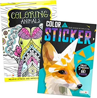 Stickers Advanced Adult Coloring Book Set -- 2 Pack Expert Paint Books for Adults Relaxation Meditation
