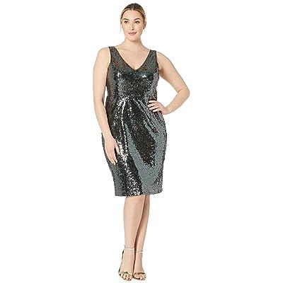 MARINA Plus Size Sleeveless V-Neck Sequin Midi (Gunmetal) Women