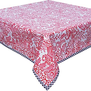 Freckled Sage Toile Red Oilcloth Tablecloth with Black Trim You Pick The Size