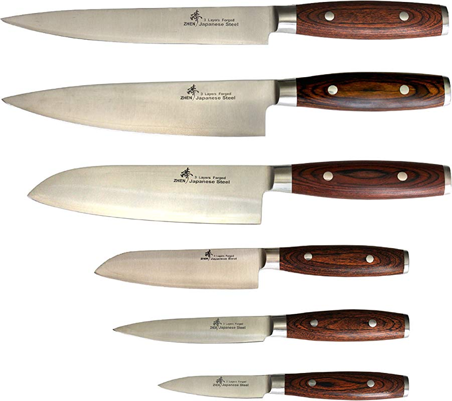 ZHEN C123459P Japanese VG 10 3 Layer Forged 6 Piece Knife Set 3 5 Inch 8 Inch Silver