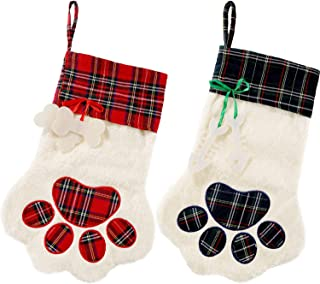 2 Pieces Christmas Stockings Pet Paw Pattern Stockings Fireplace Hanging Stockings for Pet and Christmas Decoration (Red and Green, 2 Pieces)