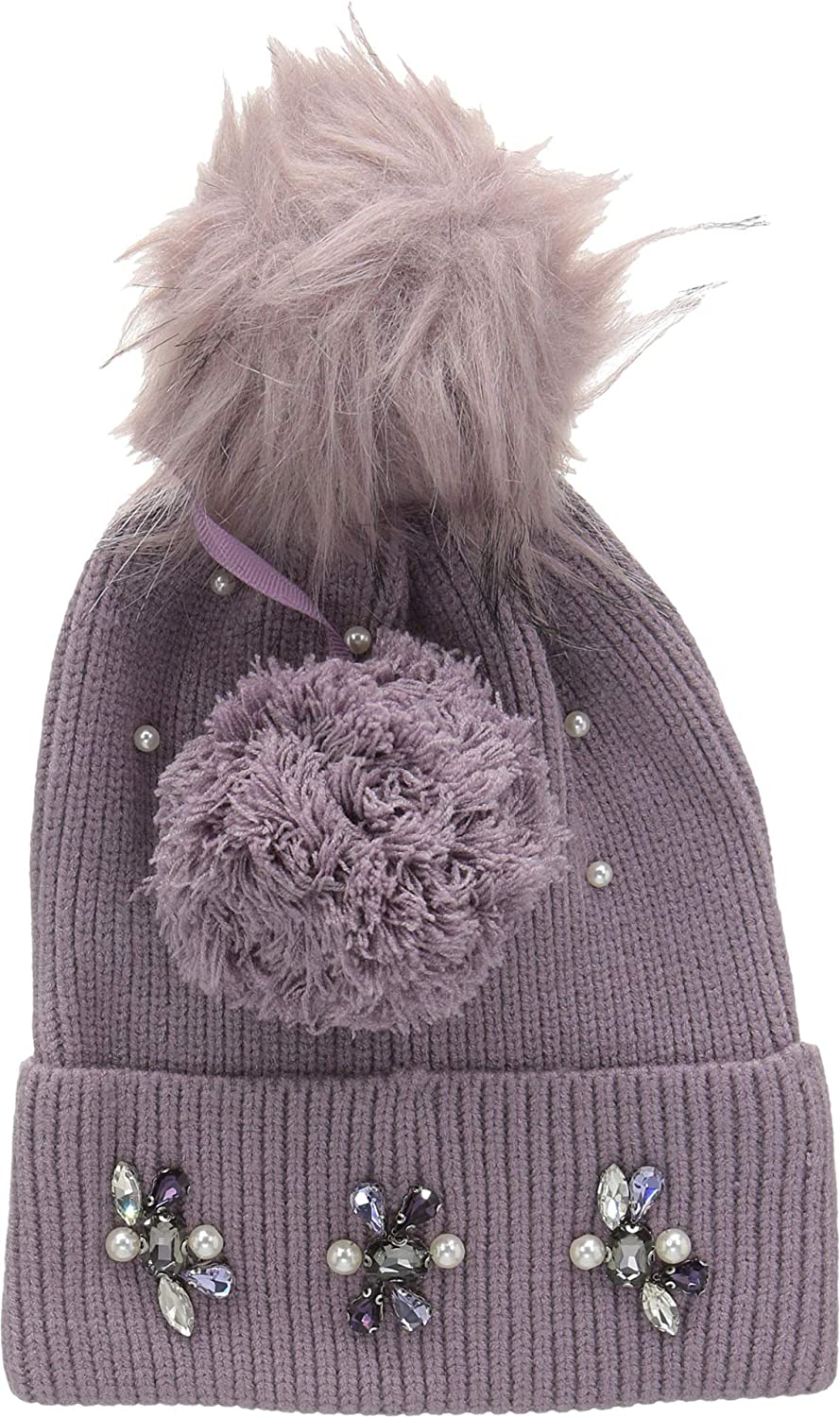Echo Design Womens Embellished Cuff Hat Interchangeable Poms