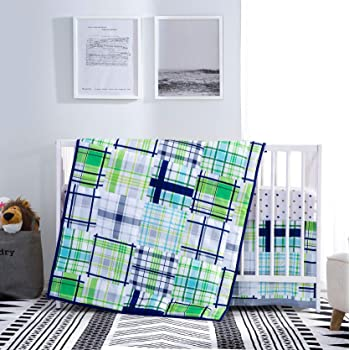3 Pieces Baby Boy Bedding Sets for Cribs Green Plaid, Navy Green Nursery Bedding Sets, Rustic Checked Designs in Blue, Navy, Teal, Mint and Grey Color