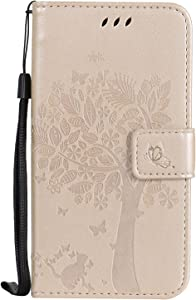 BONROY Case Moto Flip Leather Case  Shockproof Bumper Cover and Premium Wallet Case for Moto G5- Gold