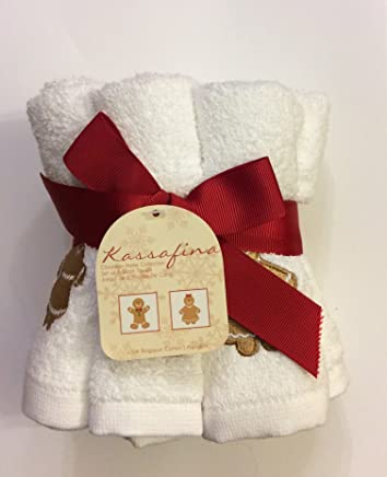 Set of 6 Kassa Fina Holiday Christmas Collection Gingerbread Embellished Wash Towels, White