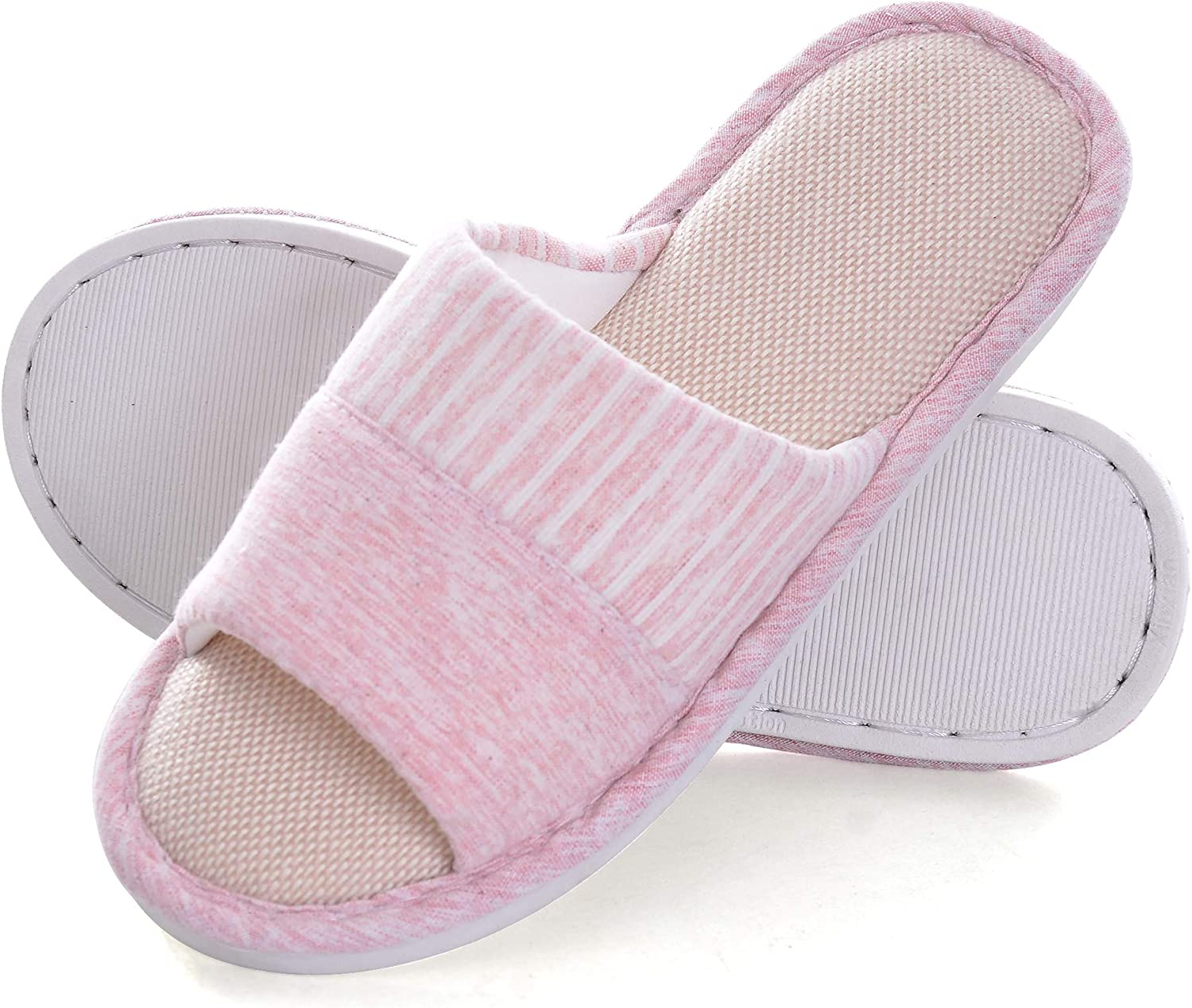 Dear Time House Slippers for Women Plaid Open Toe Bedroom Indoor Slippers