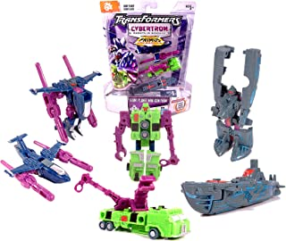 Hasbro Year 2006 Transformers Cybertron Series Scout Class 3 Pack 2-1/2 Inch Tall MiniCon Action Figure Set - GIANT PLANET MINI-CON TEAM with DEEPDIVE (Alt. Mode: Submarine), LONGARM (Alt. Mode: Crane Truck) and OVERCAST (Alt. Mode: Jet)
