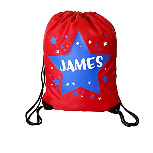 2819f2d6ae Personalised Kids Red Bag with Blue Star Theme Drawstring Swimming