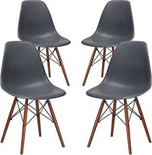 Poly and Bark Vortex Modern Mid-Century Side Chair with Wooden Walnut Legs for Kitchen, Living Room and Dining Room, Grey (Set of 4)
