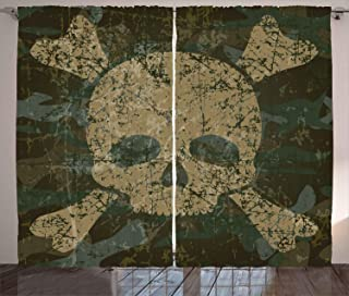 Ambesonne Camo Curtains, Abstract Texture with Skull and Crossbones Pattern Aged Rusty Grunge Style, Living Room Bedroom Window Drapes 2 Panel Set, 108