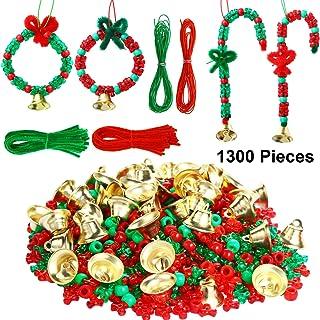 Juego de Adorno de Cuentas de Navidad para Niños, 1000 Cuentas de Tres, 2000 Cuentas Plásticas, 50 Tallos de Chenilla, 20 Campana y 10 m Cuerdas para Árbol de Navidad Corona de Artesanía