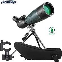 AOMEKIE Spotting Scope with Tripod Phone Adapter Case 20-60X80 for Target Shooting Hunting Bird Watching Waterproof Fogproof FMC BAK4 45°Angled Monocular Telescope