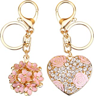 Mtlee Flowers Ball Keychain and Sweet Love Heart Rose Flower Crystal Keyring, 2 Pieces