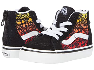 Vans Kids Sk8-Hi Zip (Infant/Toddler) ((Logo Flame) Black/True White) Boys Shoes