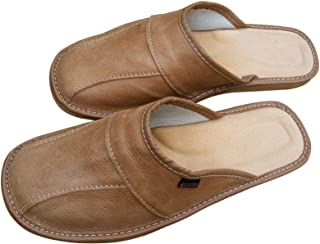 Mens Leather Slippers - Handmade Light Brown Moccasins Mules - Natural House Slip On Shoes - Many Sizes UK