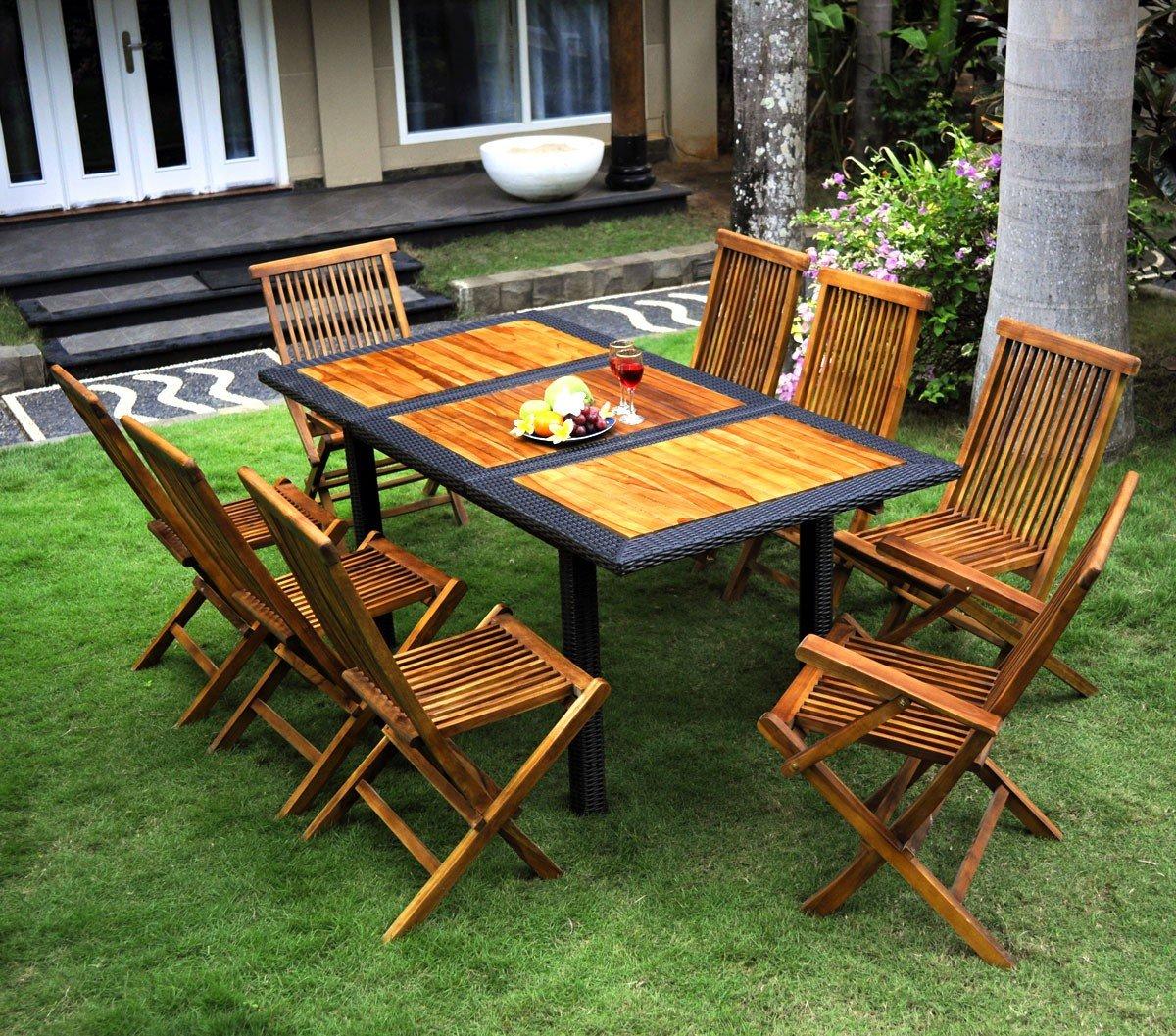 Muebles de madera de teca y resina de mesa y sillas de jardín 8 personas: Amazon.es: Hogar