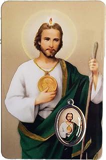 Estampa San Judas Tadeo, con Medalla, tamaño Tarjeta, PVC, con oración en el Reverso español, 5.5cm x 8,5cm