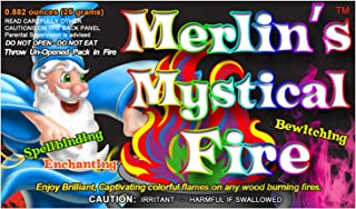 Mystical Fire Merlin's Fire Flame Colorant Vibrant Long-Lasting Pulsating Flame Color Changer for Indoor or Outdoor Use 0.882 oz Packets 12 Pack