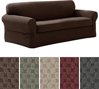 MAYTEX Pixel Ultra Soft Stretch 2 Piece Sofa Furniture Cover Slipcover, Chocolate Brown (Renewed)