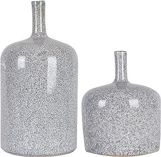 TERESA'S COLLECTIONS Ceramic Small Decorative Vase, Glazed Gray Handmade Modern..
