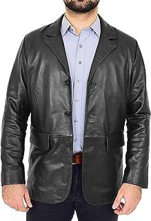 HOL Mens Soft Leather Three Button Blazer Classic Casual Jacket David Black